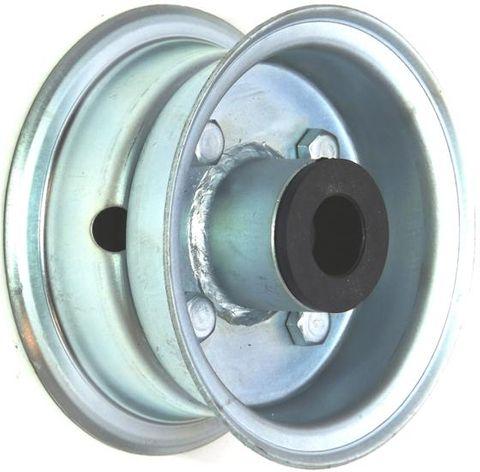 "4""x2.00"" 2-Pc Zinc Coated Rim, 35mm Bore, 62mm Hub Length, 35mm x ¾"" Nylon Bush"