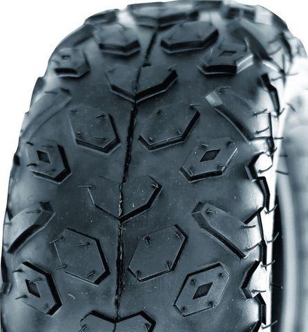 """ASSEMBLY - 6""""x4.50"""" P/ctd Rim, 2"""" Bore,145/70-6 2PR UN704 Knobbly ATV Tyre,¾""""Bus"""