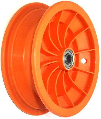 "8""x65mm Red Plastic Rim, 35mm Bore, 70mm Hub Length, 35mm x 16mm Flange Bearings"