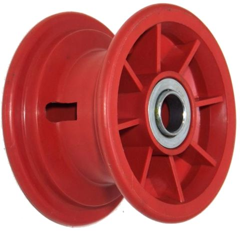 "5""x55mm Red Plastic Rim, 35mm Bore, 70mm Hub Length, 35mm x ½"" Flange Bearings"