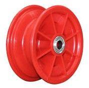 "6""x63mm Red Plastic Rim, 35mm Bore, 88mm Hub Length, 35mm x ½"" Flange Bearings"