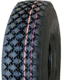 "ASSEMBLY - 4""x55mm Red Plastic Rim, 300-4 6PR V6605 Tyre, 1"" Nylon Bushes"