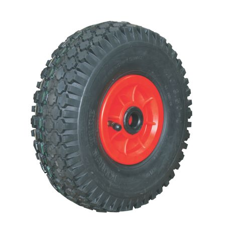 "ASSEMBLY - 4""x55mm Red Plastic Rim, 410/350-4 4PR V6602 Tyre, 1"" Nylon Bushes"