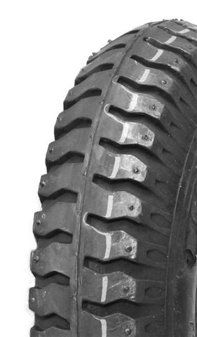 """ASSEMBLY - 4""""x66mm Grey Plastic Rim, 35mm Bore, 250-4 Solid Mil.Tyre, 16mm FBrgs"""