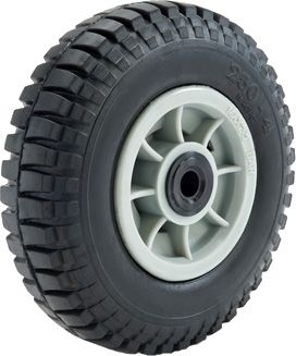 """ASSEMBLY - 4""""x66mm Grey Plastic Rim, 35mm Bore, 250-4 Solid Mil.Tyre, 1"""" Bushes"""