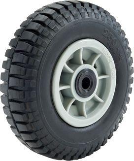 "ASSEMBLY - 4""x66mm Grey Plastic Rim, 35mm Bore, 250-4 Solid Tyre, 1"" Nylon Bush"