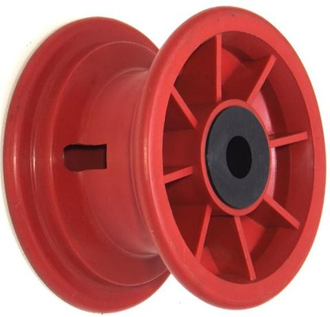 "5""x55mm Red Plastic Rim, 35mm Bore, 70mm Hub Length, 35mm x 1"" Nylon Bushes"
