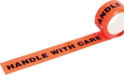 Tape HANDLE WITH CARE Fluoro Orange/Black 48mmx66m