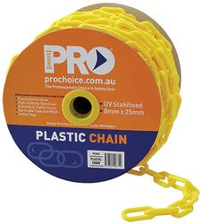 Yellow Plastic Safety Chain 8mm x 25m