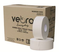 Jumbo Toilet Paper Veora Everyday 2ply 300m 8rls