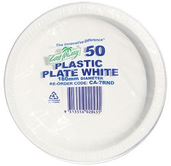 Plastic Plate 230mm Round White 50/pk