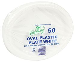 Plastic Plate Lge Oval 9x11in White 50/pk