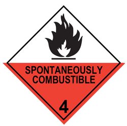 Labels SPONTANEOUSLY COMBUSTIBLE 4 100x100mm (500)