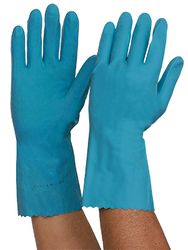 Gloves Rubber Silverlined Blue MEDIUM 12prs/pk