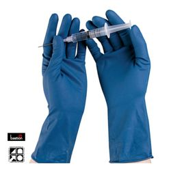 High Risk Latex Gloves Blue PF LARGE 50/pk