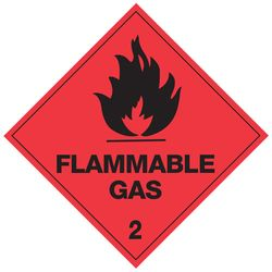 Label Flammable Gas 2 25x25mm 1000/RL