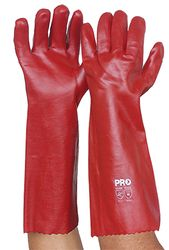 Glove PVC Red Single Dipped Long Cuff 45cm