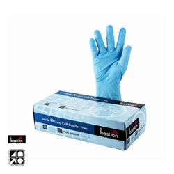 Nitrile Gloves SuperTouch Long Cuff Blue PF MED (100)