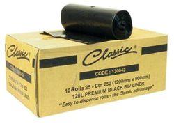 Bin Liners 120L HDPE 900x1200mm Black 250/ctn