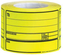 To/From Despatch Label Fluoro Yellow 500/RL