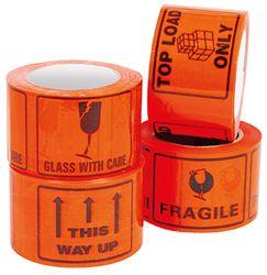Printed Tape Labels GLASS WITH CARE 500/RL