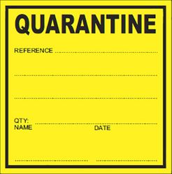 QA Labels QUARANTINE 75x75mm 500/Roll