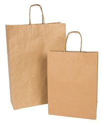 Brown Kraft Carry Bags 320+110x420mm (250)