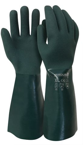 Green PVC Double Dipped Gloves 45cm