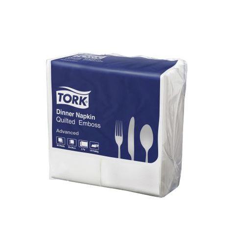 2315611 Tork Quilted Emboss White 2 Ply Dinner Napkin