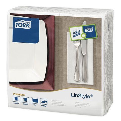 478145 Tork LinStyle White 8 Fold Dinner Napkins