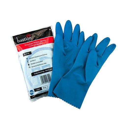 Silverlined Blue Household Rubber Gloves - Medium