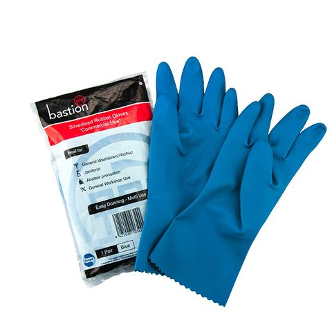 Silverlined Blue Household Rubber Gloves - Large