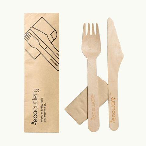 EcoCutlery 16cm Wooden Knife, Fork & Napkin Set
