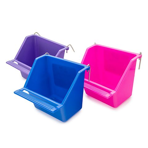 PLASTIC COOP CUP WITH PERCH - MED 9CM