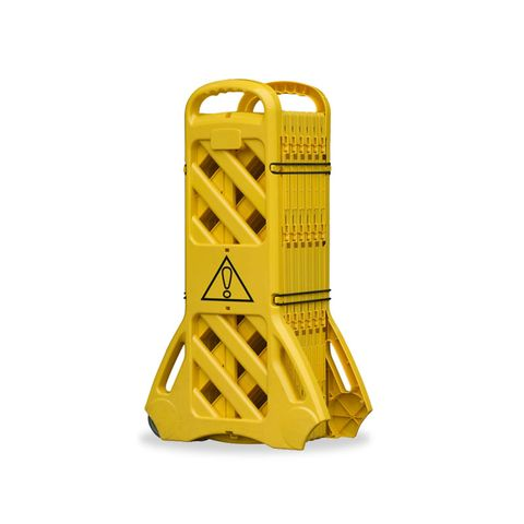 Mobile Expanding Safety Barrier - Polyethylene Yellow