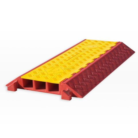 Cable Protector - 3 Channel - Polyurethane with Rubber/Plastic Lid - Orange/Yellow