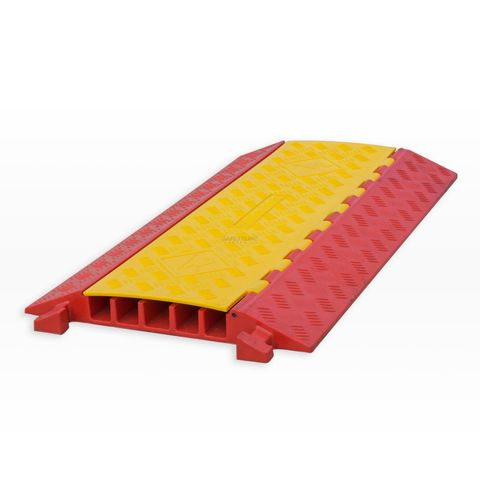 Cable Protector - 5 Channel - Polyurethane with Rubber/Plastic Lid - Orange/Yellow