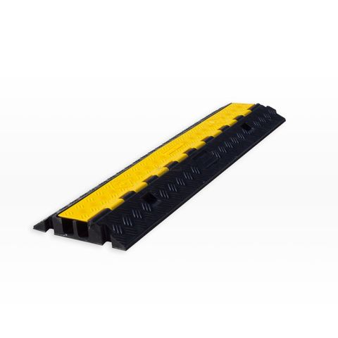 Cable Protector - 2 Channel - Rubber with Rubber/Plastic Lid - Black/Yellow