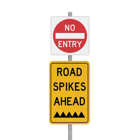 NO ENTRY Road Spikes - Sign Kit