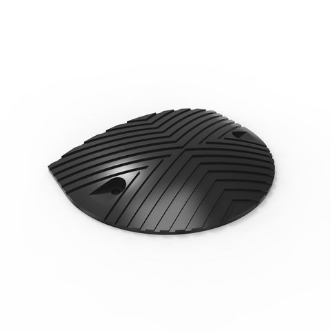 Round Rubber Speed Hump End each - Black