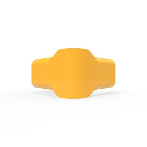 W Beam 90 Degree External Connector - Galvanised and Powder Coated Yellow