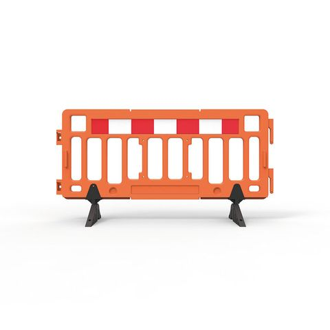Plastic Fence Barrier with Rubber Foot 2000 x 1000mm - Hi-vis Orange with Reflective Panels