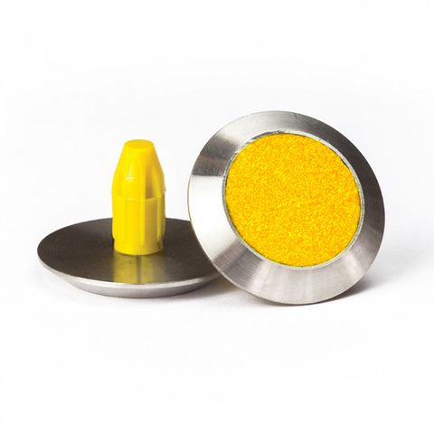 Warning Tactile Round Yellow Carborundum Infill Pack of 100 - 316 Stainless Steel