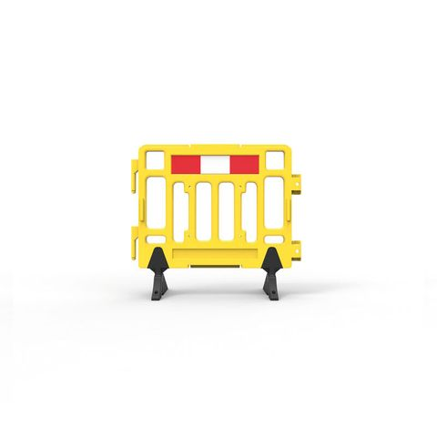 Plastic Fence Barrier with Rubber Foot 1100 x 1000mm - Hi-vis Yellow with Reflective Panels