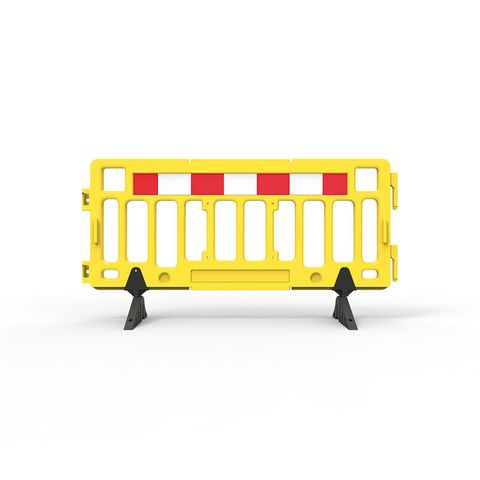 Plastic Fence Barrier with Rubber Foot 2000 x 1000mm - Hi-vis Yellow with Reflective Panels
