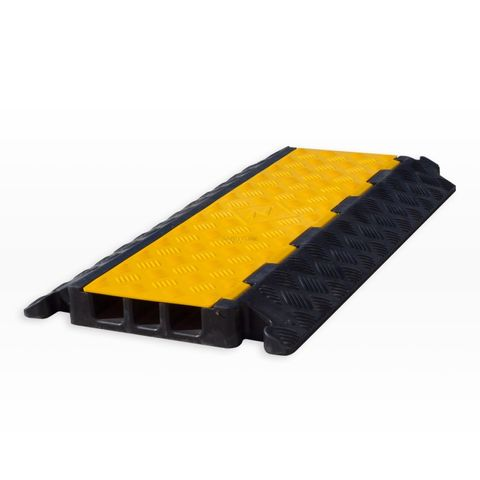 Cable Protector - 3 Channel - Rubber with Rubber/Plastic Lid - Black/Yellow