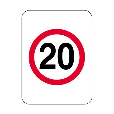 Sign - 20 in Red Circle - 600H x 450W - Aluminium