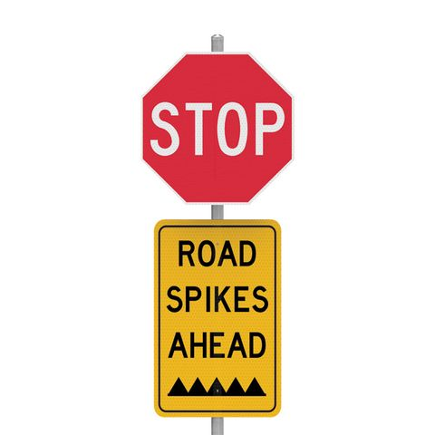 STOP Road Spikes - Sign Kit