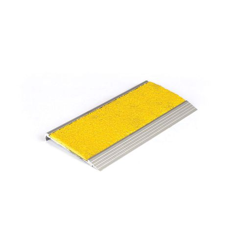 Stair Nosing 75 x 10 x 3620mm Natural Anodised with FRP Insert - Yellow