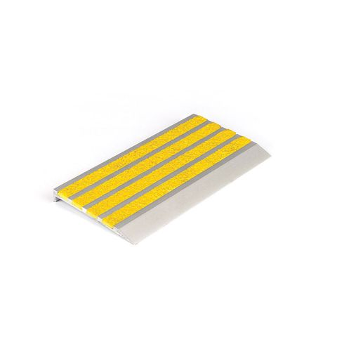 Stair Nosing 76 x 10 x 3620mm Natural Anodised with Carborundum Infill - Yellow